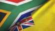 canvas print picture - South Africa and Niue two flags textile cloth, fabric texture