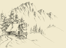 Winter Alpine Landscape And Wi...