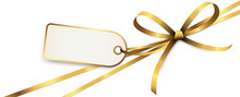 Gold Colored Ribbon Bow With H...