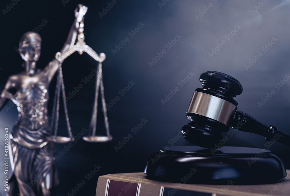 Fototapeta Scales of Justice  and gavel legal law concept imagery