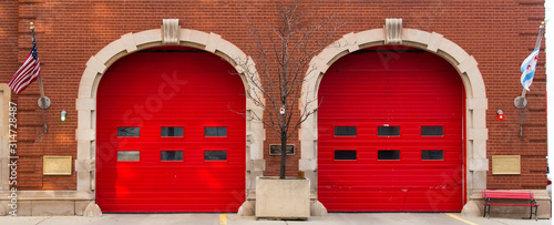 Red doors of a fire station