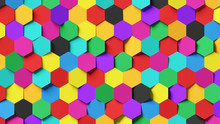 Abstract Colorful Hexagon Background; Decorative Multi Color Honeycomb Structure 3d Rendering, 3d Illustration