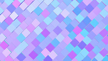 Abstract Gradient Blue, Pink And Purple Blocks Background; Decorative Diagonal Square Structure 3d Rendering