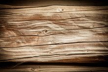 Close Up Vintage Wood Background. Old Rich Dirty Cracked Wood Wall Texture With Knots.