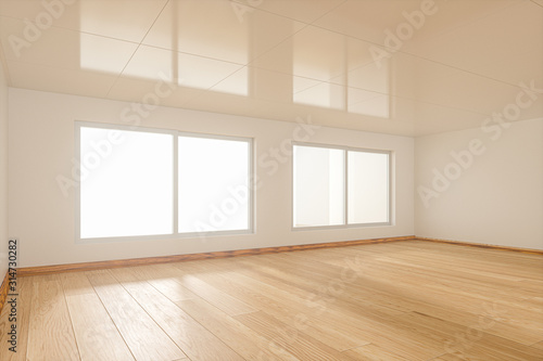 Fototapeta The white empty room with sunlight coming from the window, 3d rendering. obraz