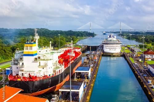 View of Panama Canal from cruise ship Fototapeta