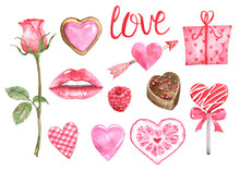 Valentine's Day Symbols Set. Watercolor Hand Painted Elements, Isolated On White Background. Pink Hearts, Sweets, Sugar Cookie, Lips, Rose, Gift Box, Heart Shaped Lollipop, Candy