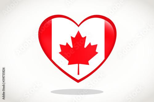 Canada Flag in Heart Shape. Heart 3d Flag of Canada, Canada flag template design.