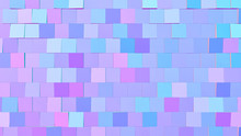 Abstract Gradient Blue, Pink And Purple Blocks Background; Decorative Square Structure 3d Rendering