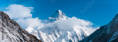 Obraz Close up panoramic view of K2, the second highest mountain in the world with Angel peak and Nera peak on the left side, Concordia, Pakistan - fototapety do salonu