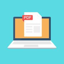 PDF File On Laptop Screen. Dow...