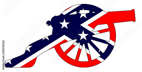 Rebel Flag With Civil War Cannon Silhouette Wallpaper Mural