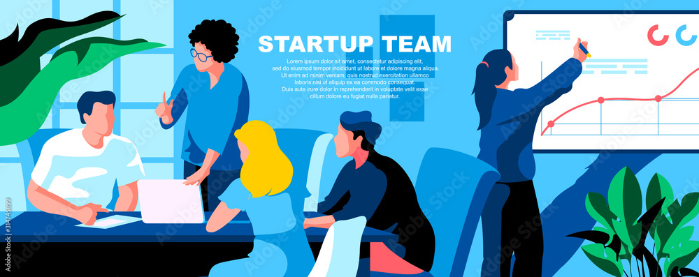 Fototapeta Startup team flat vector landing page template. Business development, project management banner layout with header. Company improvement strategy planning cartoon illustration with text space