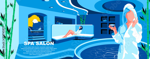 Fototapeta Spa salon flat vector landing page template. Cosmetologist and beautician services banner layout with header. Women skincare procedures. Beauty center cartoon illustration with text space obraz