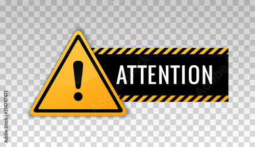 Obraz Attention sign. Hazard warning caution board. Attract attention. Exclamation mark. Triangle frame. Striped frame. Precaution message on banner. Design with alert icon. Concept caution dangerous areas - fototapety do salonu