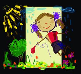 Vector graphics. Children drawing girl
