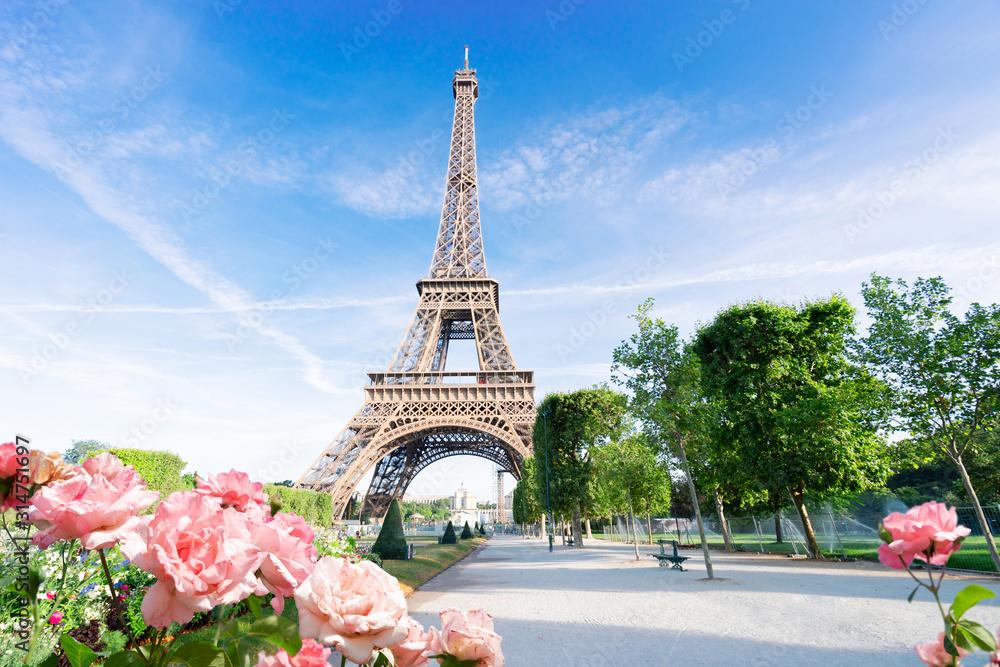 Fototapeta eiffel tour and Paris cityscape