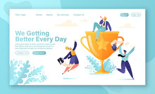 Business Team Success Concept For Landing Page With Flat Cartoon Vector Characters And Golden Prize. Teamwork Achievement, Victory Celebration, Career Growth. Business Men And Women Jump And Dance.
