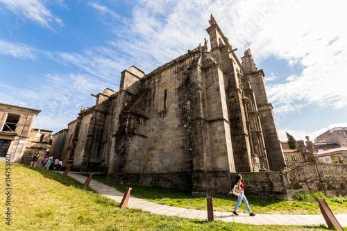 Pontevedra, Spain. Wide angle view of the main facade of the Basilica de Santa Maria la Mayor, example of Isabelline Gothic