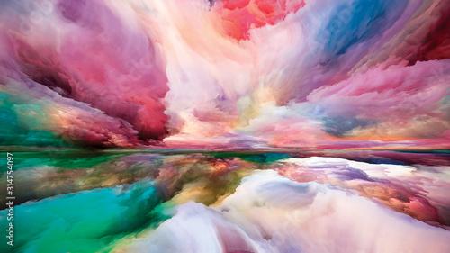Digital Perspectives of Land and Sky Fototapeta