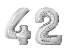 Number 42 Forty Two Made Of Silver Inflatable Balloons Isolated On White Background. Chrome Silver Helium Balloons Forming 42 Forty Two Number
