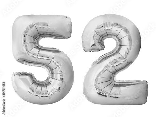 Fotografia  Number 52 fifty two made of silver inflatable balloons isolated on white background