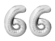 Number 66 Sixty Six Made Of Silver Inflatable Balloons Isolated On White Background. Silver Chrome Helium Balloons Forming 66 Sixty Six Number