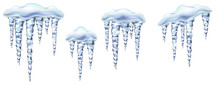 Icicles In Vector Shiny And Glass Hanging In Winter And Spring, Snowdrift, Clipart For Your Design.
