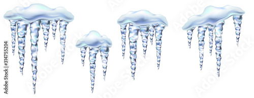 Cuadros en Lienzo Icicles in vector shiny and glass hanging in winter and spring, snowdrift, clipart for your design