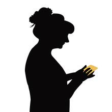 Woman Using Phone, Silhouette ...