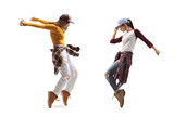 Two young females dancing street dance style
