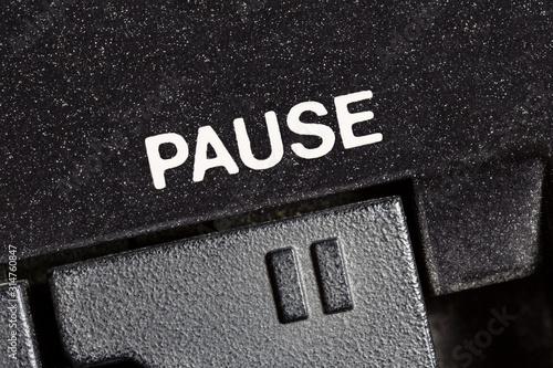 Fotografija Macro close up photograph of vintage tape machine play and record pause button
