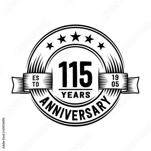 115 years anniversary celebration logotype Wallpaper Mural