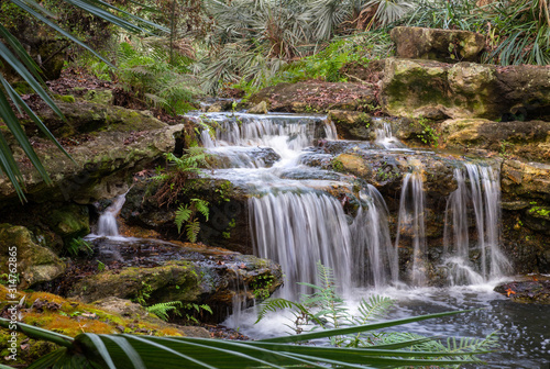 waterfall, tropical forest, long exposure