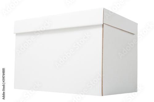 Photo White blank archive corrugated carton box isolated on white background
