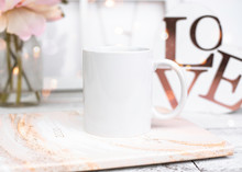 Styled Blank White Mug Mockup On Planner With Flowers And Love Sign
