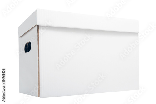 Photo White blank archival cardboard box for accounting papers isolated on white backg