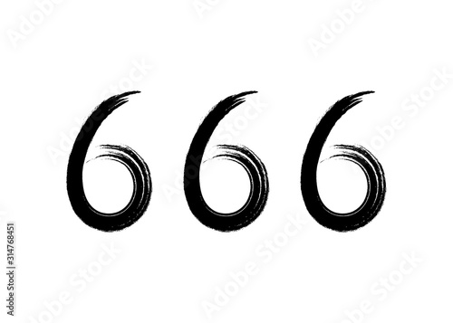 Photo 666 the number of the beast, symbol of the devil vector illustration isolated on white background