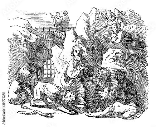 Vintage drawing or engraving of biblical story of prophet Daniel Send in lion's den by king Darius of Babylon. Old Man surrounded by lions. Bible, Old Testament,Daniel 6. Biblische Geschichte Fotomurales