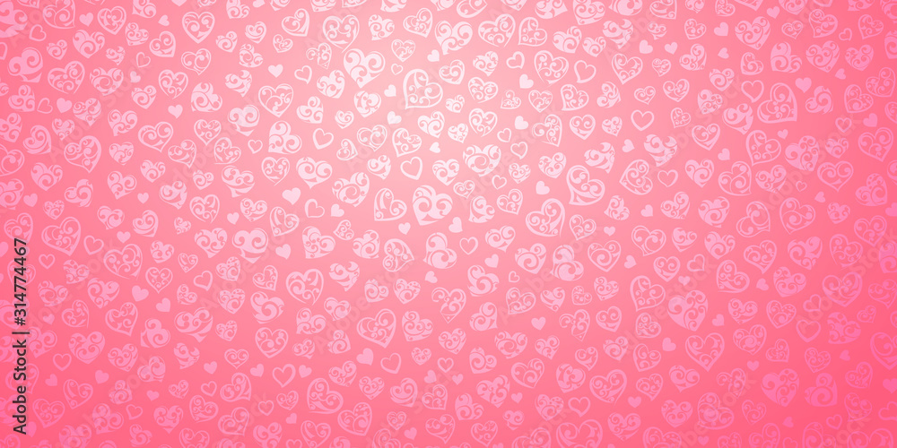 Fototapeta Background of big and small hearts with curls in pink colors. Illustration on Valentine's day.