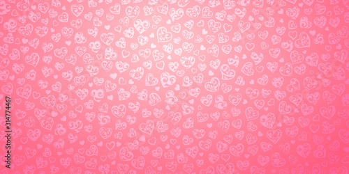 Obraz Background of big and small hearts with curls in pink colors. Illustration on Valentine's day. - fototapety do salonu