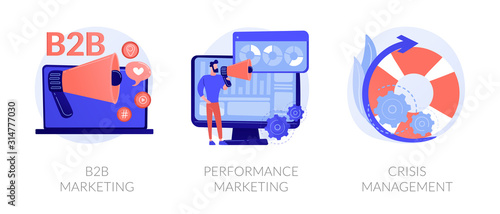 Fotomural Advertising business icons set