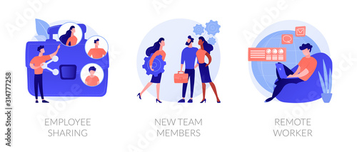 Obraz Modern business icons set. Corporate communication, workers recruitment, distance job, Employee sharing, new team members, remote worker metaphors. Vector isolated concept metaphor illustrations - fototapety do salonu