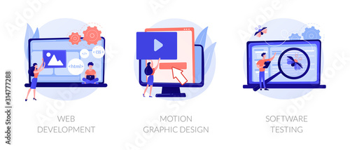 Website programming and coding. Computer animation designer. Bug fixing. Web development, motion graphic design, software testing metaphors. Vector isolated concept metaphor illustrations - 314777288