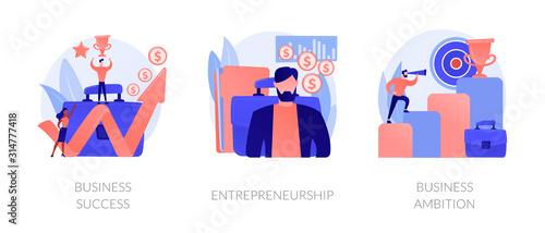 Success achievement icons set Wallpaper Mural