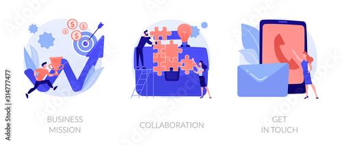 Obraz na plátne Company development direction, team building exercise, corporate communication icons set