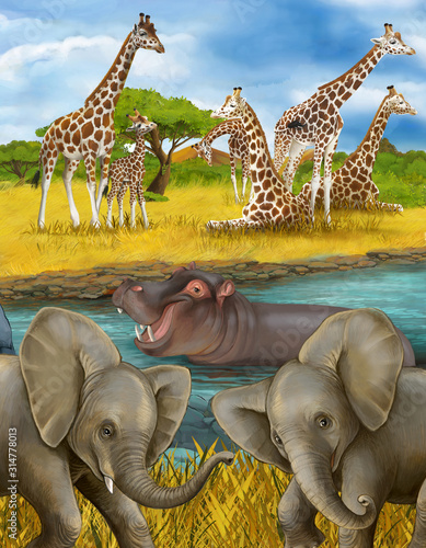 cartoon scene with hippopotamus hippo in the river and elephant illustration for Canvas Print