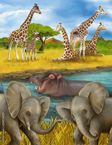 cartoon scene with hippopotamus hippo in the river and elephant illustration for Wallpaper Mural