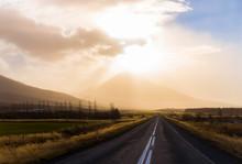 Dramatic Skies Along A Long Road