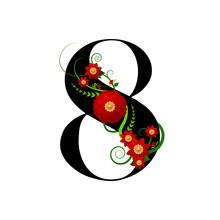 Chiffre Floral Numéro 8 (huit...